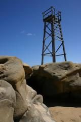 Fototapeta na wymiar Wooden shark tower - Redhead beach Newcastle