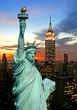 Leinwanddruck Bild The Statue of Liberty and New York City skyline