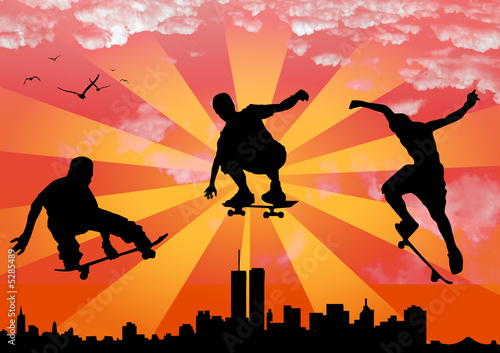 vector jumping skateboarder Wallpaper Mural