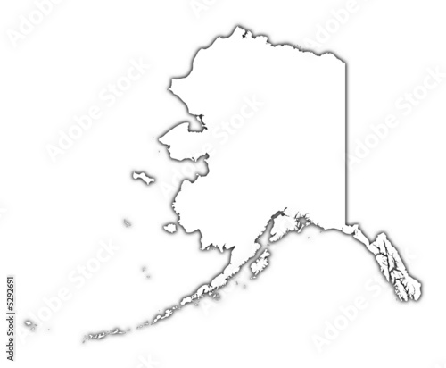 Outline Alaska Map With Shadow Buy This Stock Illustration And