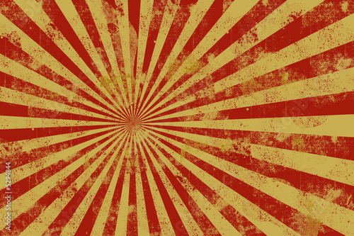 Yellow and red distressed Rays Canvas Print
