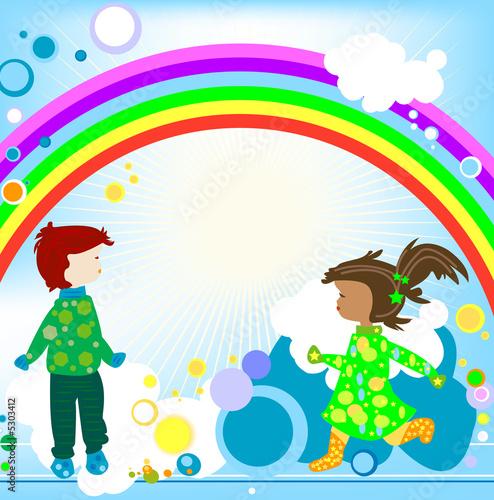 In de dag Regenboog Kids and rainbow