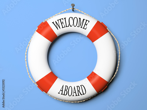 Fotografie, Obraz  Red and white life buoy isolated on blue background