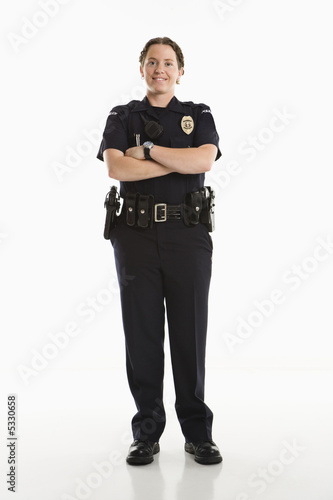Smiling Policewoman. Billede på lærred