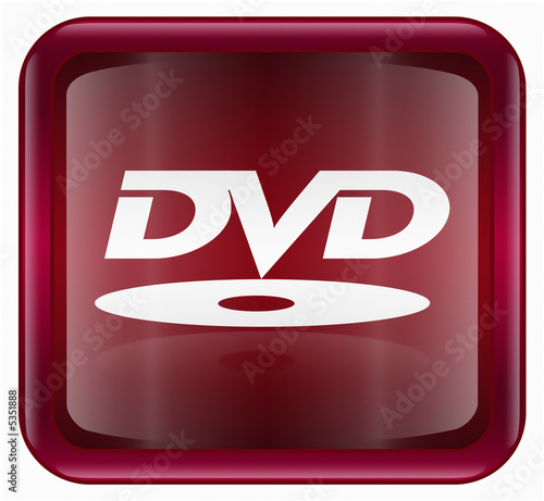 Fotografía  DVD icon, red, isolated on white background
