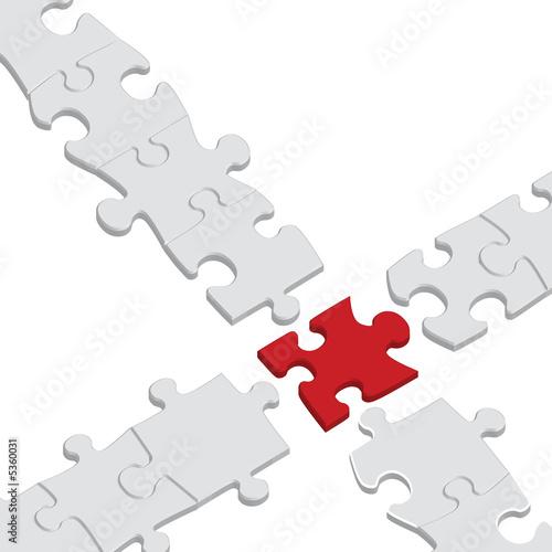 puzzle rouge croisement détaché Wallpaper Mural