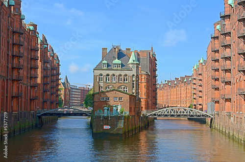 Foto-Kassettenrollo premium - Speicherstadt in Hamburg