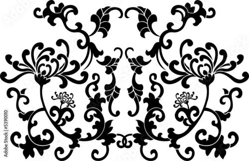 Printed kitchen splashbacks Butterflies in Grunge Black Floral Curves Silhouette Ornament