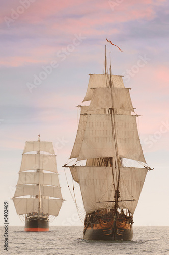 Fotografia  Tall wooden vintage sailing ships