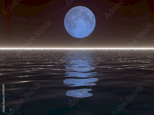 Fototapety, obrazy: Surreal Moon and Water
