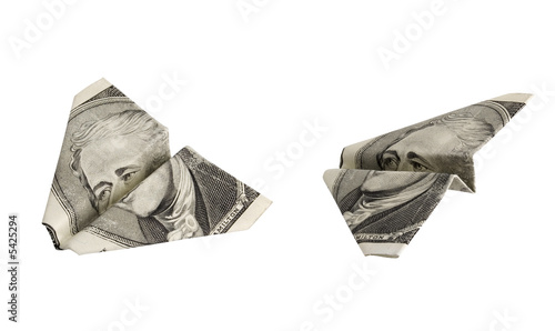 Photo Airplanes made from dollar