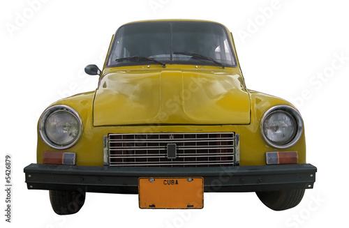 Photo classic yellow retro car isolated - cuba