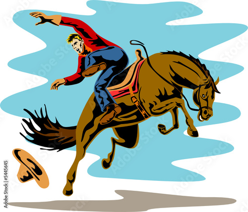 Poster Ouest sauvage Rodeo cowboy riding a bucking bronco