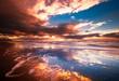 Leinwandbild Motiv sunset and waves