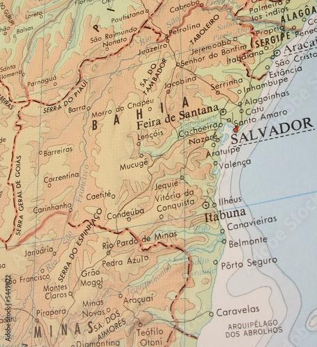 Cadres-photo bureau Carte du monde Map of Bahia, Brazil - 3