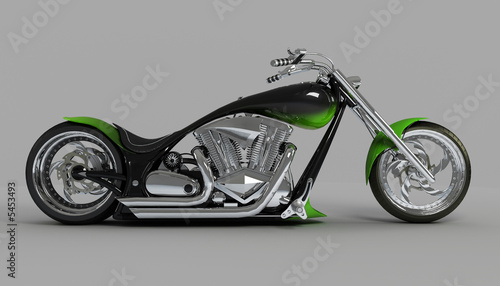 zielono-czarny-motocykl-konstruowany-na-zamowienie-na-szarym-tle