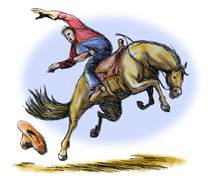 Rodeo Cowboy Riding A Bucking ...