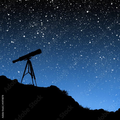 Photo  Telescope Under the Stars
