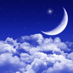 New moon and stars shining above blue clouds