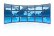 World map on a huge blue screen