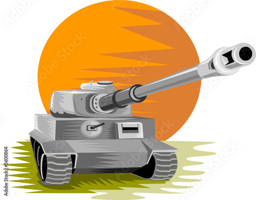 Poster Militaire World war two battle tank