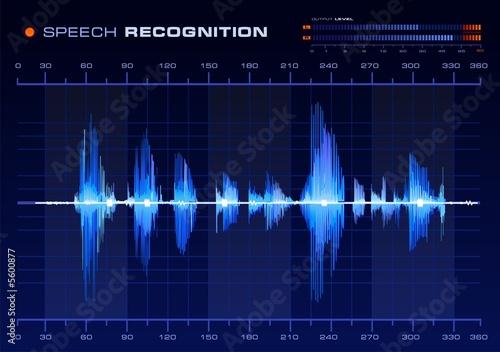 Fotografía  Speech Recognition, Blue Waveform