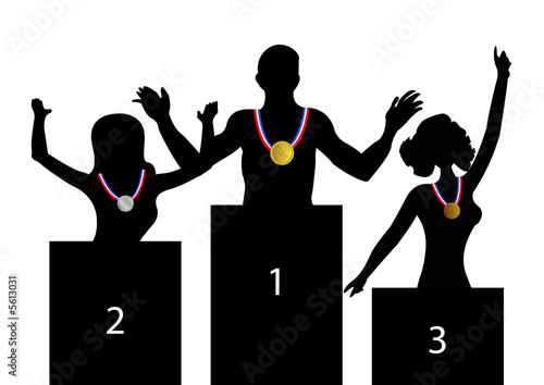 Gold Medal Winners on Podiums Canvas Print