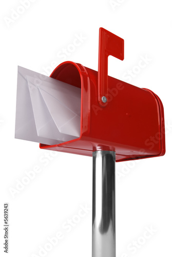 Fotografía  A standard red mailbox with mail and flag isolated over white