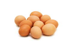 Group Of Eggs Isolated On The White