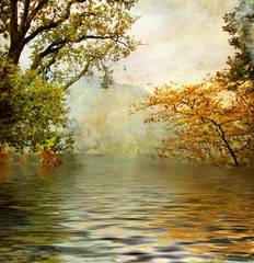 Fototapeta Krajobraz golden lake - beautiful picture in painting style