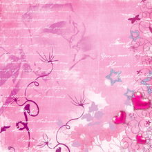 Romantic Pink Background With Hand Letter And Hearts