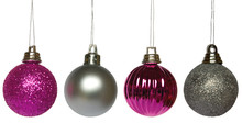 Four Purple And Silver Hanging Christmas Baubles