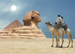 canvas print picture Symbol Egypt's - pyramid, Sphinx, camel, sand and sun