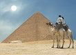 canvas print picture Symbol Egypt's - pyramid, camel, sand and sun