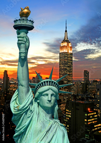 Foto-Kassettenrollo premium - The Statue of Liberty and New York City skyline