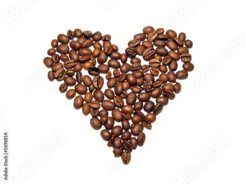 Spoed Foto op Canvas Koffiebonen cuore di caffè