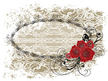 Lace Oval Frame Valentine Red Roses And Swirls