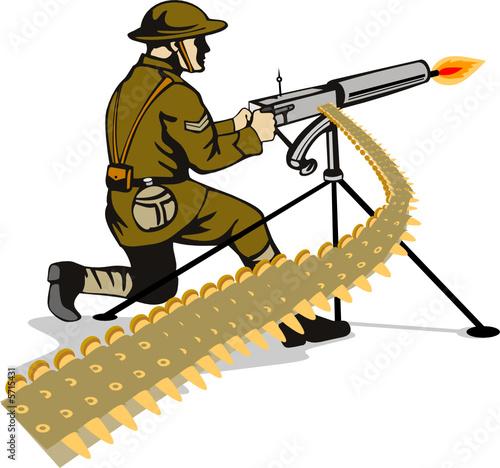 Poster Militaire Soldier firing a machine gun