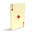 Playing Card: Ace of Diamonds. 3D render.