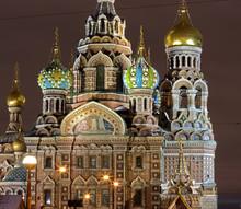 Spas-na-krovi Orthodox Cathedral At Night .