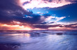 canvas print picture sunset and waves