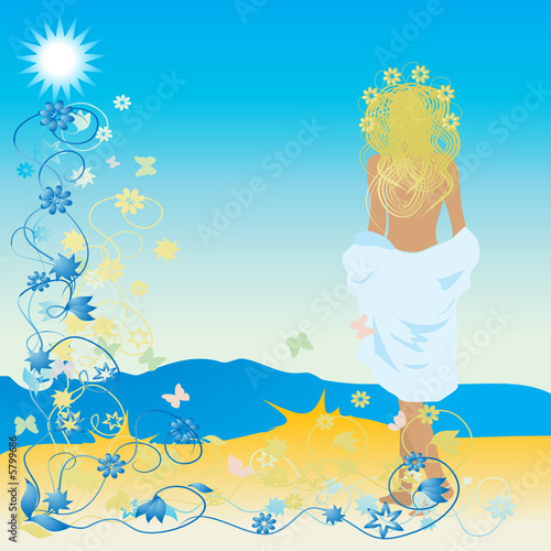 Floral femme Beautiful woman on beach, floral frame