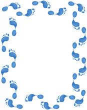 Blue Foot Print Border On White Background