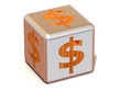 Cube with dollar. 3d