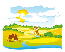 Vector Rural View With Windmill