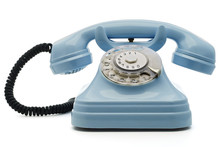 A Light Blue Telephone On White - With Clipping Path