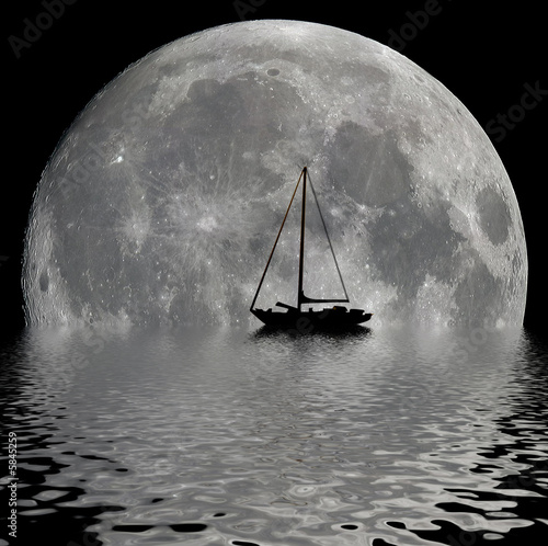 Fotografie, Obraz  Sailboat silhouette in the night with a big moon