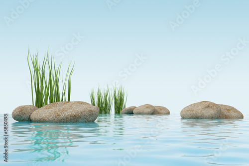 3d model water, grass and s...