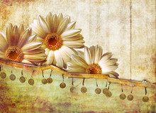Retro Background With Flowers Inside