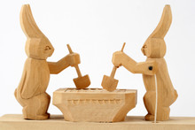 Wooden Worker Bunnys Hand Carved Russian Toy
